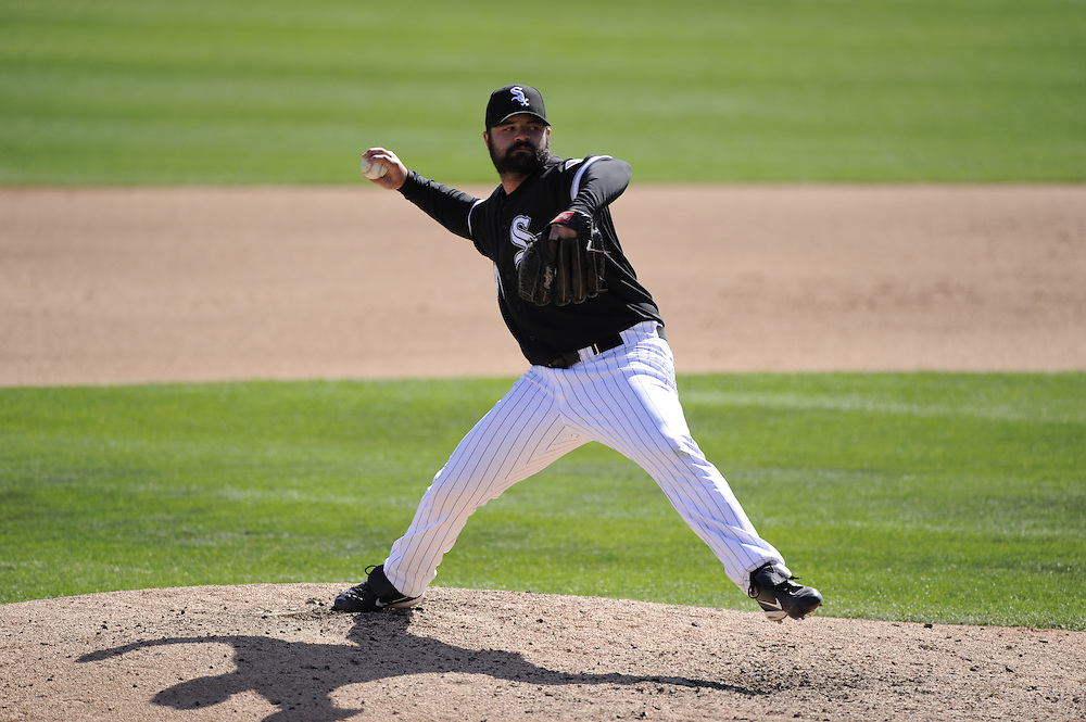 GLENDALE, AZ - MARCH 08:  Brian Bruney #40 of Chicago White Sox pitches against the Colorado Rockies on March 08, 2011 at The Ballpark at Camelback Ranch in Glendale, Arizona. The White Sox defeated the Rockies 9-8.  (Photo by Ron Vesely)