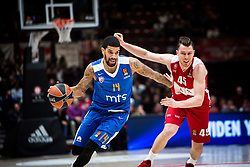 December 29, 2017 - Assago, Milan, Italy - James Feldeine (#14 Crvena Zvezda Mts Belgrade) drives to the basket  during a game of Turkish Airlines EuroLeague basketball between  AX Armani Exchange Milan vs Crvena Zvzda Mts Belgrade at Mediolanum Forum in Milan, Italy, on 29 december 2017. (Credit Image: © Roberto Finizio/NurPhoto via ZUMA Press)