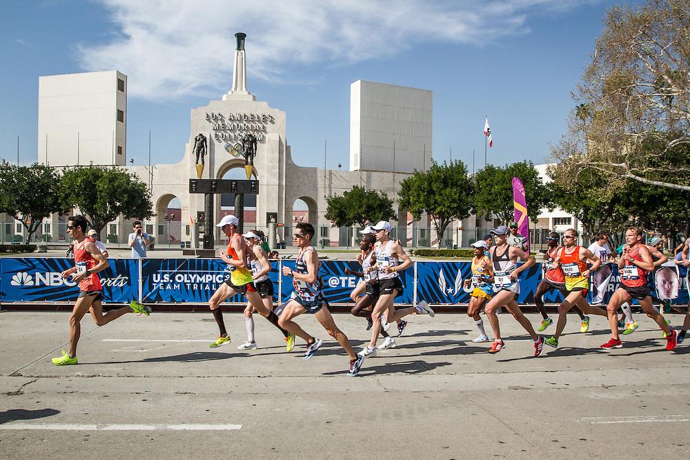 USA Olympic Team Trials Marathon 2016, LA Coliseum, lead pack of men