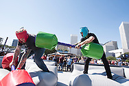 HOUSTON, TX - OCTOBER 3:  Fans joust during the UFC 192 fan village at the Toyota Center on October 3, 2015 in Houston, Texas. (Photo by Cooper Neill/Zuffa LLC/Zuffa LLC via Getty Images) *** Local Caption ***