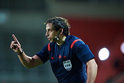 LIVERPOOL, ENGLAND - Tuesday, December 9, 2014: Welsh referee Bryn Markham-Jones during the UEFA Youth League Group B match between Liverpool and FC Basel at Langtree Park. (Pic by David Rawcliffe/Propaganda)