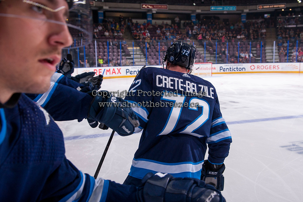 PENTICTON, CANADA - SEPTEMBER 8: Antoine Cnete-belzile #72 of Winnipeg Jets celebrates a first period goal against the Vancouver Canucks on September 8, 2017 at the South Okanagan Event Centre in Penticton, British Columbia, Canada.  (Photo by Marissa Baecker/Shoot the Breeze)  *** Local Caption ***