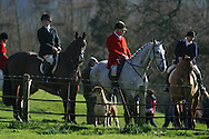 Women and men hunters of the Wynnstay Hunt assemble before they ride out for a day's foxhunting. The Wynnstay Hunt, named after Sir Watkin Williams-Wynn, dated back to the 18th century and hunted on country estates in Shropshire, Cheshire and north Wales. Hunting with dogs in England and Wales became illegal on 18th February 2005 despite legal challenges to the ban and many hunts vowed to continue the ancient sport of foxhunting, risking prosecution..
