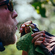 Andrew Whiteford blows bubbles from plant leaf sap in the higher altitude jungle near Ban Sop Gai, Thailand.