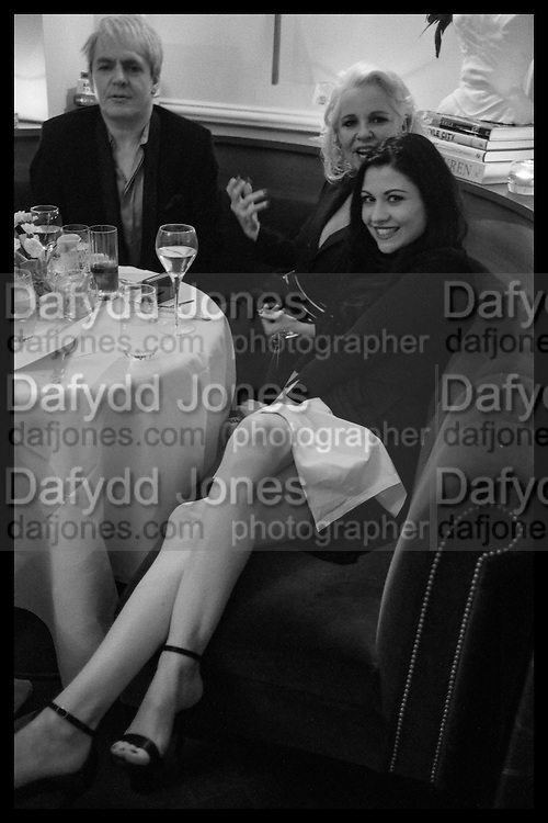 NICK RHODES; AMANDA ELIASCH; NEFER SUVIO, Nicky Haslam hosts dinner at  Gigi's for Leslie Caron. 22 Woodstock St. London. W1C 2AR. 25 March 2015