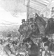 William Ewart Gladstone (1809-1898) giving an election address on Blackheath in his Greenwich constituency. General election February 1874. Gladstone lost to the Conservatives under Disraeli. From 'The Illustrated London News' 7 February 1874.