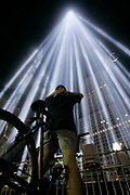 New York, NY, USA, September 11th 2004: The Towers of Light were lit at dusk and reamined on until dawn on september 12 2004. The sculpture of light is located next to the footprints of the World Trade Center and were lit as part of the 911 memorial ceremony at Ground Zero.<br /> <br /> <br /> <br />   *** Local Caption ***