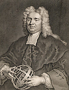 Nicholas Saunderson (1682-1739), English mathematician. Saunderson lost his sight to Smallpox when he was an infant.  He became Lucasian professor of mathematics at Cambridge. He is holding an armillary sphere.  Engraving by Gerard van der Gucht (c1696-1776) after the portrait painted by Vanderbank in 1718.