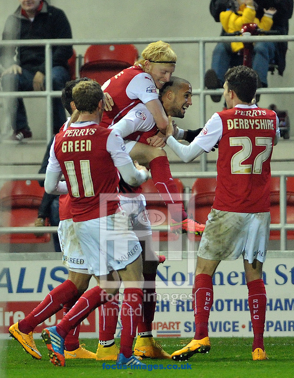 Jordan Bowery of Rotherham United celebrates with team mates after his goal against Blackpool during the Sky Bet Championship match at the New York Stadium, Rotherham<br /> Picture by Graham Crowther/Focus Images Ltd +44 7763 140036<br /> 29/11/2014