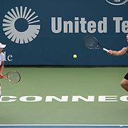August 22, 2014, New Haven, CT:<br /> Nicole Melichar and Patrick Smith play a US Open National Playoffs semi-final mixed doubles match against Jacqueline Cako and Joel Kielbowicz on day eight of the 2014 Connecticut Open at the Yale University Tennis Center in New Haven, Connecticut Friday, August 22, 2014.<br /> (Photo by Billie Weiss/Connecticut Open)