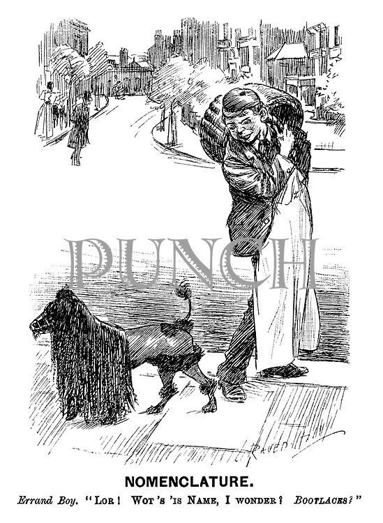 "Nomenclature. Errand boy. ""Lor! Wot's 'is Name, I wonder? BOOTLACES?"" (a street scene showing a working class servant and a poodle with long fringe and muzzle)"
