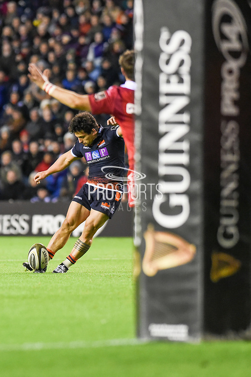 Simon Hickey converts during the Guinness Pro 14 2018_19 match between Edinburgh Rugby and Scarlets at BT Murrayfield Stadium, Edinburgh, Scotland on 2 November 2018.