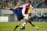 seizoen 2003 / 2004, amsterdam , 01-10-2003 champions league ajax - club brugge. duel englebert en zlatan ibrahimovic<br />