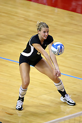 06 SEP 2008: Katie Eberling bump sets the ball to a team mate during a game between the Broncos of Western Michigan and the Redbirds of Illinois State. The Redbird Classic is held on Doug Collins Court in Redbird Arena located on the campus of Illinois State University in Normal IL.