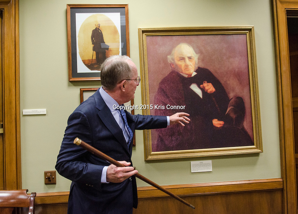 Senator Lamar Alexander(R-TN) talks about Sam Houston's walking stick that he bought a few years back that is on display in his Washington DC senate office in the Dirksen Senate Office Building in Washington DC on December 7, 2015. Photo by Kris Connor