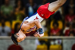 November 2, 2018 - Doha, Qatar - Yul Moldauer of  United States   during  Floor for Men at the Aspire Dome in Doha, Qatar, Artistic FIG Gymnastics World Championships on 2 of November 2018. (Credit Image: © Ulrik Pedersen/NurPhoto via ZUMA Press)