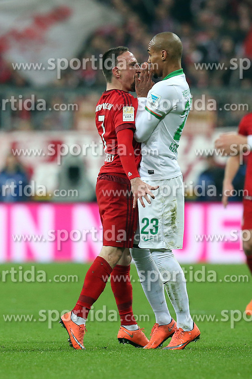 12.03.2016, Allianz Arena, Muenchen, GER, 1. FBL, FC Bayern Muenchen vs SV Werder Bremen, 26. Runde, im Bild Franck Ribery (FC Bayern Muenchen) Theodor Gebre Selassie (SV Werder Bremen) nach einem foul // during the German Bundesliga 26th round match between FC Bayern Munich and SV Werder Bremen at the Allianz Arena in Muenchen, Germany on 2016/03/12. EXPA Pictures &copy; 2016, PhotoCredit: EXPA/ Eibner-Pressefoto/ Langer<br /> <br /> *****ATTENTION - OUT of GER*****