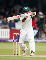 Pakistan's Sarfraz Ahmed plays the ball as he gets himself out for 9 during day two of the First NatWest Test Series match at Lord's, London.