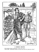 """A Dubious Disciple. Stalinus Superbus (slashing at the poppy-heads). """"That's how I do it."""" Attleius Clemens. """"Reprehensible, perhaps, but Russian, and therefore impossible to blame!"""""""