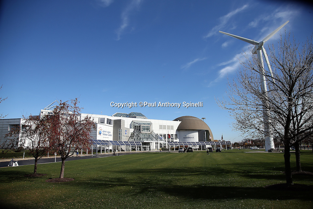 The Great Lakes Science Center building houses the NASA Glenn Visitor Center and the Cleveland Clinic OMNIMAX Theater on the shores of Lake Erie in this general view photograph taken before the Cleveland Browns 2015 week 8 regular season NFL football game against the Arizona Cardinals on Sunday, Nov. 1, 2015 in Cleveland. The Cardinals won the game 34-20. (©Paul Anthony Spinelli)