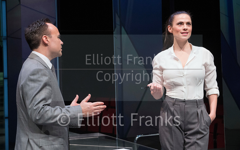 Dry Powder<br /> by Sarah Burgess<br /> Directed by Anna Ledwich at the <br /> Hampstead Theatre, London, Great Britain <br /> 31st January 2018 <br /> Press photocall <br /> <br /> Joseph Balderrama as Jeff <br /> Hayley Atwell as Jenny<br /> <br /> <br /> <br /> <br /> Designed by Andrew D Edwards <br /> Lighting by Elliot Griggs<br /> Sound by Max Pappenheim <br /> Video by Ian William Galloway<br /> <br /> Photograph by Elliott Franks