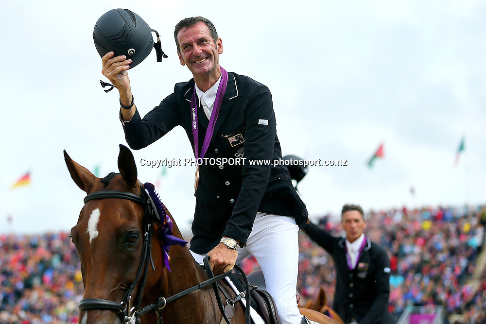 Mark Todd with his Bronze Medal for Eventing Team Jumping. Olympic Equestrian Eventing, Jumping Final, Greenwich Park, London, United Kingdom. Tuesday 31st July 2012. Photo: Anthony Au-Yeung / photosport.co.nz