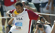 Reese Hoffa of the United States was 10th in his group in the shot put at 63-7 3/4 (19.40m) in the 2004 Olympics in Athens, Greece on Wednesday, August 18, 2004.
