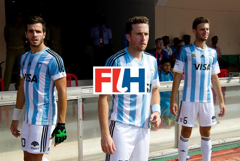 Odisha Men's Hockey World League Final Bhubaneswar 2017<br /> Match id:03<br /> Argentina v Belgium<br /> Foto: Arthentin Matias Paredes (Arg), Marc Ganly (Arg) and Santiago Tarazona (Arg) <br /> WORLDSPORTPICS COPYRIGHT FRANK UIJLENBROEK