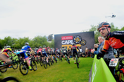 PAARL SOUTH AFRICA - MARCH 23: Start of the final day, stage 7 on March 23, 2018 Wellingtion to Paarl, South Africa. Mountain bikers gather from around the world to compete in the 2018 ABSA Cape Epic, racing 8 days and 658km across the Western Cape with an accumulated 13 530m of climbing ascent, often referred to as the 'untamed race' the Cape Epic is said to be the toughest mountain bike event in the world. (Photo by Dino Lloyd)