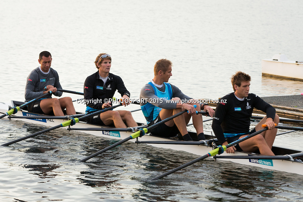Men's Quad, Jade Uru, John Storey, George Bridgewater,  Karl Manson, at the Rowing NZ Media Day, Lake Karapiro, Cambridge, New Zealand, Wednesday 6 May 2015. Photo: Stephen Barker/Photosport.co.nz