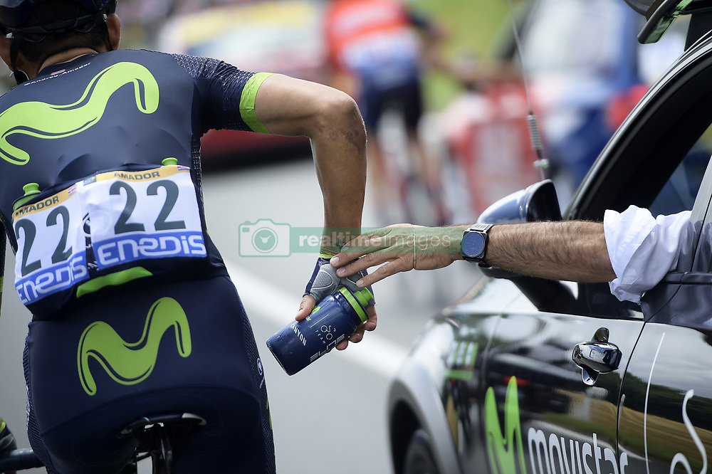 July 12, 2017 - Pau, FRANCE - Costa Rican Andrey Amador of Movistar Team pictured fetching drinking bottles at the car of the team director in action during the 11th stage of the 104th edition of the Tour de France cycling race, 203,5km from Eymet to Pau, France, Wednesday 12 July 2017. This year's Tour de France takes place from July first to July 23rd. BELGA PHOTO YORICK JANSENS (Credit Image: © Yorick Jansens/Belga via ZUMA Press)