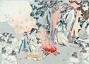 Gate to Amaterasu's cave.  Warrior moves the stone gate in front of A cave while woman dances in hope of enticing Amaterasu, Shinto sun goddess, to make an appearance. Anonymous Japanese print c1900.