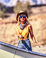 Actress Heather Thomas makes fly-fishing look like a fasion statement. Heather who lives in the Yellowstone region has become a very good angler...Model Released