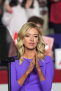 White House Press Secretary Kayleigh McEnany warms up the audience at the Keep America Great Rally in the North Charleston Coliseum February 28 2020 in North Charleston, South Carolina.