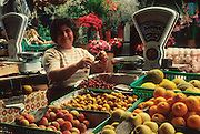 PORTUGAL, CENTRAL REGION, ATLANTIC COAST City of Nazare, central market with fresh produce being sold