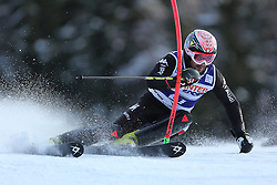 06.01.2014, Stelvio, Bormio, ITA, FIS Weltcup Ski Alpin, Bormio, Slalom, Herren, im Bild Cristian Deville // Cristian Deville  in action during mens Slalom of the Bormio FIS Ski World Cup at the Stelvio in Bormio, Italy on 2014/01/06. EXPA Pictures © 2014, PhotoCredit: EXPA/ Sammy Minkoff<br /> <br /> *****ATTENTION - OUT of GER*****