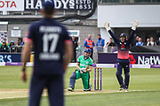 Kevin O'Brien of Ireland is caught lbw by Adil Rashid of England during the One Day International match between England and Ireland at the Brightside County Ground, Bristol, United Kingdom on 5 May 2017. Photo by Andrew Lewis.
