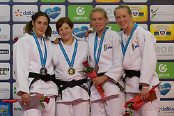 Gold medalist Tina Trstenjak (2nd L) of Slovenia, silver medalist Pari Surakatova (L) of Russia with bronze medalist Anna Bernholm (2nd R) and Mia Hermansson (1st R) of Sweden attend the award ceremony for women's -63 kg category at Grand Prix Budapest 2015 in Budapest, Hungary on June 13, 2015. EXPA Pictures &copy; 2015, PhotoCredit: EXPA/ Photoshot/ Attila Volgyi<br /> <br /> *****ATTENTION - for AUT, SLO, CRO, SRB, BIH, MAZ only*****