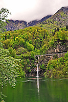 Ticino, Southern Switzerland. Upper part of the reservoir formed by the dam at Palagnedra.