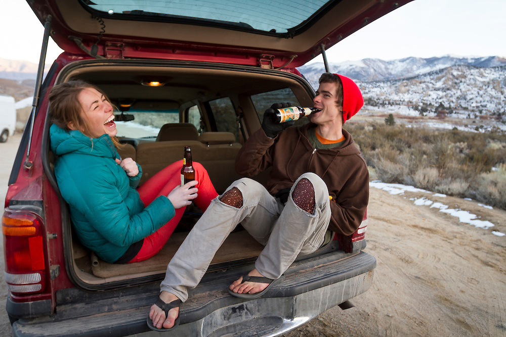 Hannah Hall and Kevander Baldwin enjoy a beer after a day of bouldering.<br />