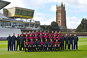 Somerset players (Back row) Dom Bess, Tim Rouse, Eddie Byrome, Ollie Sale, Paul van Meekeren, Nathan Gilchrist, Ben Green, Tom Banton, George Bartlet, Tom Lammonby, Josh Davey, (Middle row) Gary Metcalfe, James Always, Greg Kennis, Steve Snell, Jack Leach, Max Waller, Jack Brooks, Craig Overton, Jamie Overton, Tim Groenewald, Steve Davies, Azhar Ali, Jamie Thorpe, Joel Tratt, Andrew Griffiths, Paul Tweddle, (Front row) Peter Trego, Lewis Gregory, Jason Kerr, Tom Abell, Andy Hurry, James Hildreth and Roelof van der Merwe pose for their team photo in their Vitality Blast kit during the 2019 media day at Somerset County Cricket Club at the Cooper Associates County Ground, Taunton, United Kingdom on 2 April 2019.