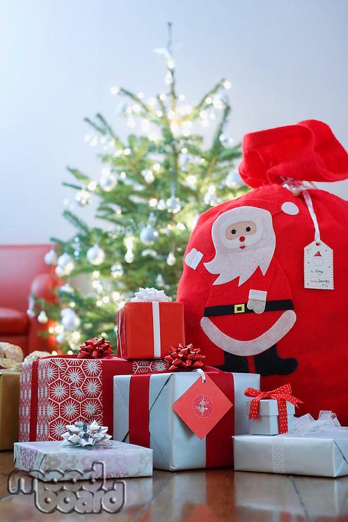 Christmas presents on floor
