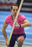 Renaud Lavillenie (FRA) places second in the pole vault at 19-1½ (5.83m) in the 34th Indoor Meeting Karlsruhen in an IAAF World Tour competition at the Messe Karlsruhe on Saturday, Feb. 3, 2018 in Karlsruhe, Germany. (Jiro Mochizuki/Image of Sport)