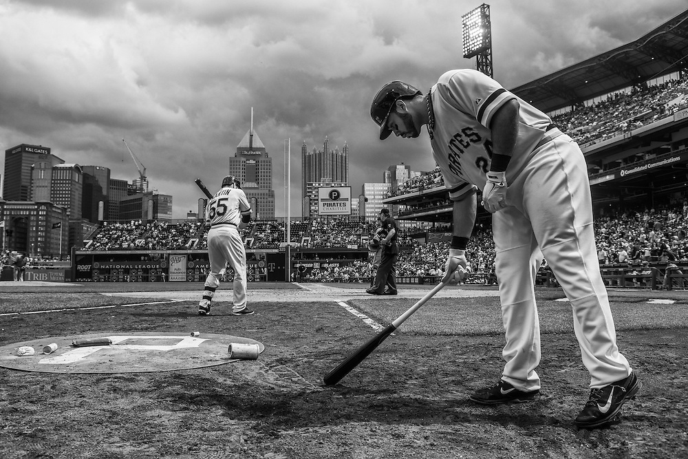 PITTSBURGH, PA - JUNE 08: (EDITORS NOTE: Image has been converted to black and white.) Pedro Alvarez #24 of the Pittsburgh Pirates warms up on the on-deck circle during the game against the Milwaukee Brewers at PNC Park on June 8, 2014 in Pittsburgh, Pennsylvania. (Photo by Rob Tringali) *** Local Caption *** Pedro Alvarez