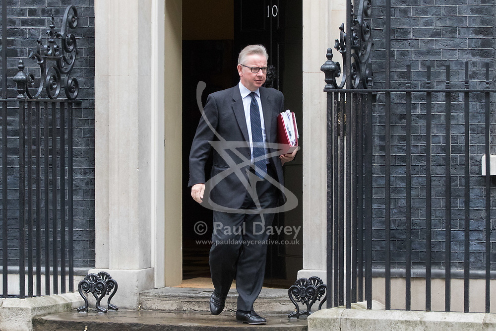 London, June 27th 2017. Secretary of State for Environment, Food and Rural Affairs Michael Gove leaves the weekly UK cabinet meeting at 10 Downing Street in London.