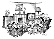 (A family sits in front a television engrossed in TV magazines and and annuals)