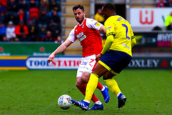 Anthony Forde of Rotherham United attempts to cut out a pass by Ryan Nyambe of Blackburn Rovers - Mandatory by-line: Ryan Crockett/JMP - 02/03/2019 - FOOTBALL - Aesseal New York Stadium - Rotherham, England - Rotherham United v Blackburn - Sky Bet Championship