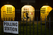 Voting starts as dawn breaks over the church of St. Saviour's in the south London borough of Lambeth, serving as a polling station for the UK's General Election 2 weeks before Christmas, on 12th December 2019, in London, England.
