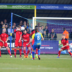 TELFORD COPYRIGHT MIKE SHERIDAN 23/2/2019 - Shane Sutton of AFC Telford heads clear Darren Carter's free kick during the FA Trophy quarter final fixture between Solihull Moors and AFC Telford United at the Automated Technology Group Stadium