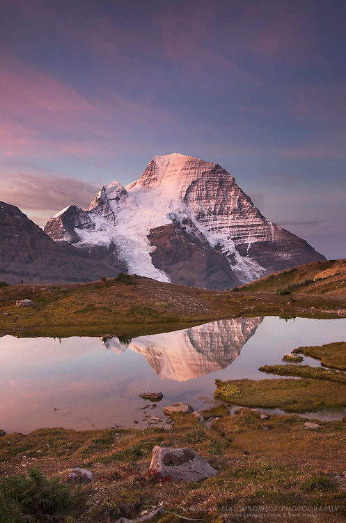 Sunrise over Mount Robson, highest mountain in the Canadian Rockies, elevation 3,954 m (12,972 ft), seen from Mumm Basin, Mount Robson Provincial Park British Columbia